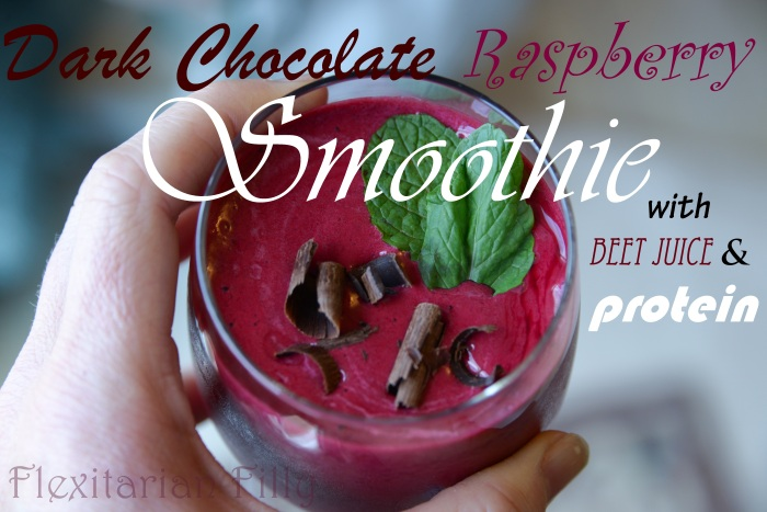 dark chocolate raspberry protein smoothie-title